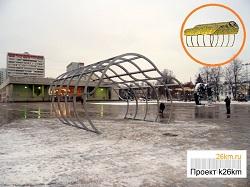 Монтаж арки на центральной площади