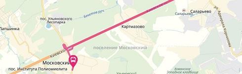 Схема движения маршрутки до РИО Румянцево