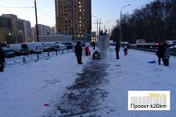 В Московском обустроят горку из 100 ледяных блоков
