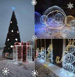 В Московском продолжают устанавливать новогодние декорации